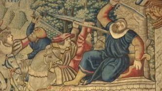 O mito de Édipo em lã, fio de ouro e seda