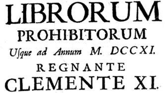 O Índex dos Livros Proibidos da Santa Sé