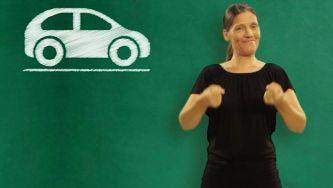 Carro, mota e autocarro em Língua Gestual